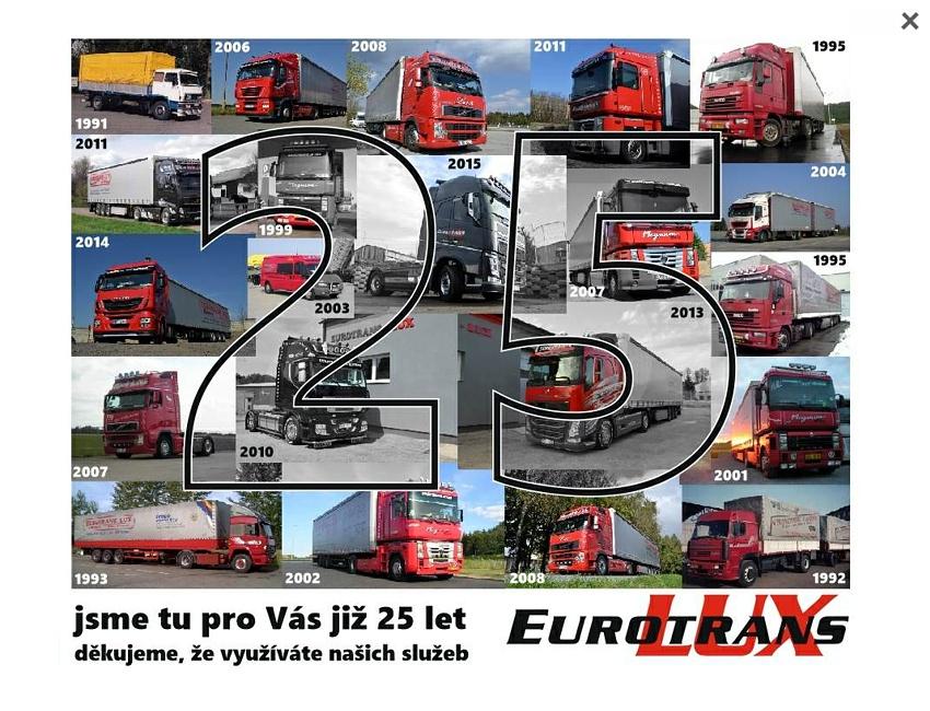 Eurotrans Lux - jsme tu pro Vás již 25 let - kliknutím zavřete reklamu